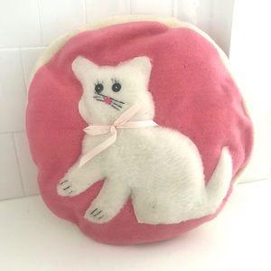 Vintage 1950's pink & white kitten throw pillow